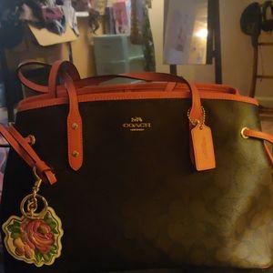 Coach purse, coach keychain